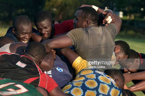 TOPSHOT Kenya's 15s rugby team players take part in their last training session at the Impala club in Nairobi on October 30 ahead of the 2019 Rugby...