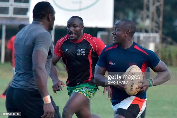 Kenya's 15s rugby team players take part in their last training session at the Impala club in Nairobi on October 30 ahead of the 2019 Rugby World Cup...