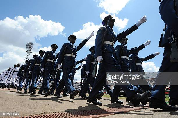 Kenya's Airforce personnel march during commemorations of Kenya's 47th Independence anniversary December 12 2010 at the Nyayo national stadium in...