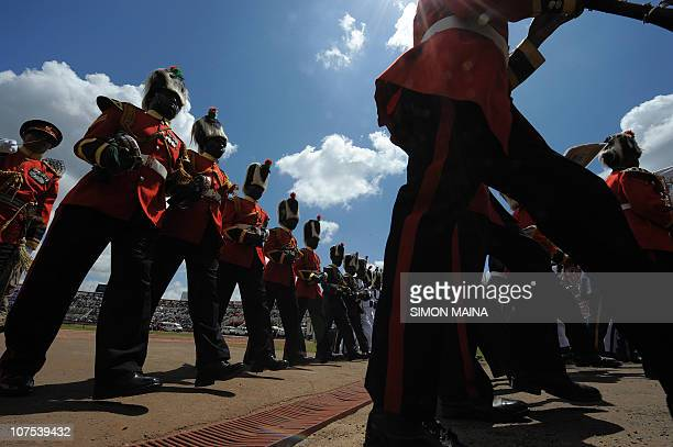 Kenya's Army band parade during commemorations of Kenya's 47th Independence anniversary on December 12 2010 at the Nyayo national stadium in Nairobi...