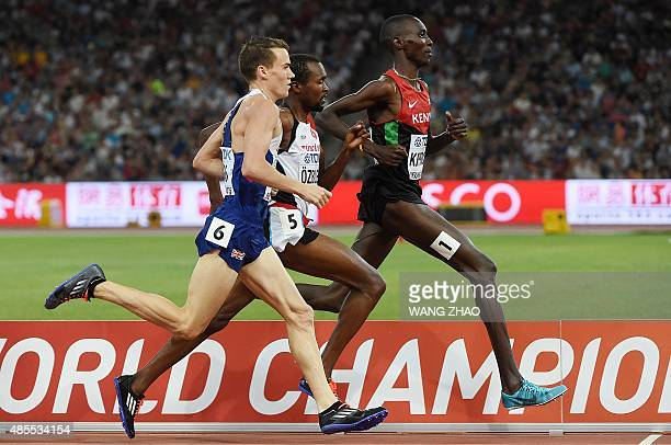 Kenya's Asbel Kiprop runs ahead of Britain's Chris O'Hare and Turkey's Ilham Tanui Ozbilen in the semifinal of the men's 1500 metres athletics event...