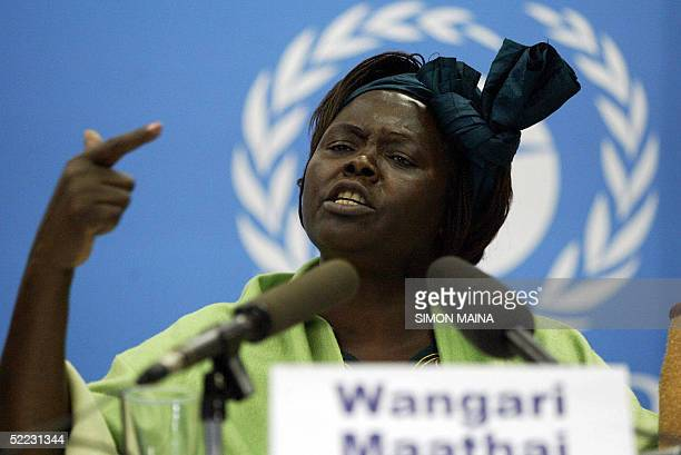 Kenya's assistant minister for environment and Nobel Prize winner 2004 Wangari Mathai talks to the media 23 February 2005 during the 23rd governing...
