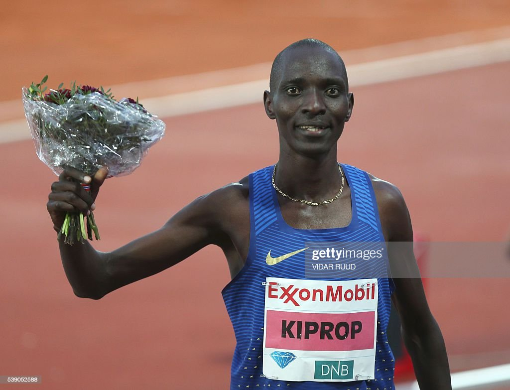 Kenya's athlete Asbel Kiprop reacts after winning the men's Exxonmobil dream mile during the 2016 IAAF Oslo Diamond League athletics meeting at the Bislett Stadium in Oslo, on June 9, 2016. / AFP / NTB Scanpix / Vidar Ruud / Norway OUT