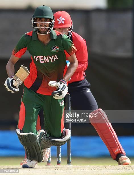 Kenya's batsman Irfan Karim makes a run to reach half a Century during the ICC World Cricket League Kenya vs Hong Kong on November 18 2016 at the...