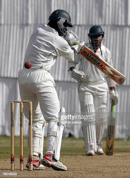 Kenya's batsman Nehemiah Odhiambo misses a delivery against India A bowler 10 August 2007 during their threeday match at Mombasa Sports Club India...