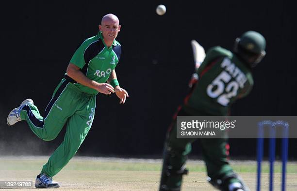 Kenya's batsman Rakepl Patel hits the ball from Ireland's bowler Trent Johnson on February 18 2012 during the first of twooneday internationals at...