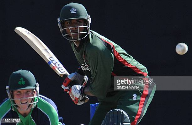 Kenya's batsman Rakepl Patel hits the ball on February 18 2012 during the first of twooneday internationals at the Mombasa sports club in MobassaThe...