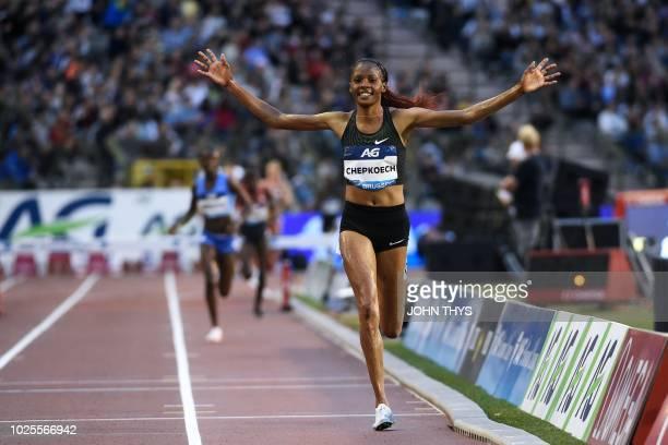"Kenya's Beatrice Chepkoech celebrates during in the women's 3000 metres steeplechase during the IAAF Diamond League ""Memorial Van Damme"" athletics..."