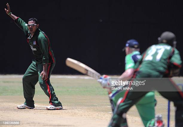 Kenya's bowler Hiren Viraiya unsuccessfully appeals against Ireland's batsman Kelvin Obrien during their oneday international cricket match at the...