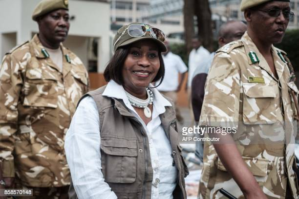 Kenya's Cabinet Secretary for Environment and Natural Resources Professor Judi Wakhungu participates the annual Global March for Elephants Rhinos and...