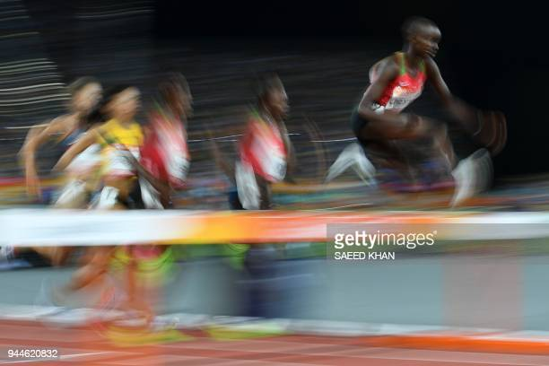Kenya's Celliphine Chepteek Chespol competes in the athletics women's 3000m steeplechase final during the 2018 Gold Coast Commonwealth Games at the...