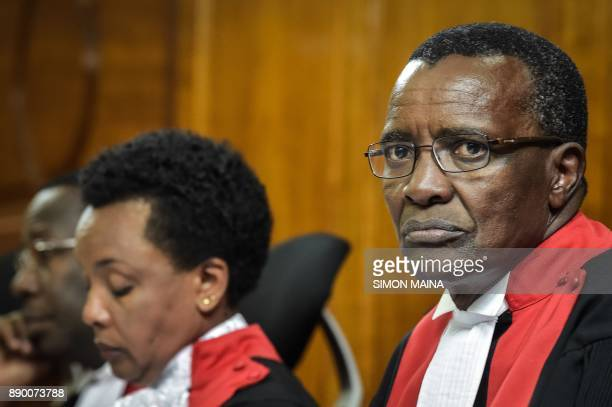 Kenya's Chief Judge David Maraga looks on at The Supreme Court in Nairobi on December 11 before all judges delivered their full judgement on the...