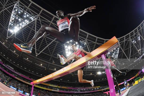 TOPSHOT Kenya's Conseslus Kipruto competes in the final of the men's 3000m steeplechase athletics event at the 2017 IAAF World Championships at the...
