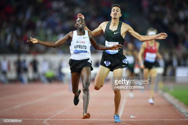 Kenya's Conseslus Kipruto wins ahead of second placed Morocco's Soufiane El Bakkali the men's 3000 meters steeplechase during the IAAF Diamond League...