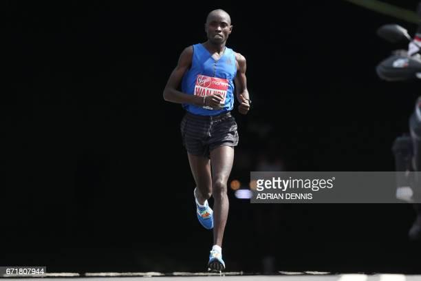 Kenya's Daniel Wanjiru runs during the Men's elite race at the London marathon on April 23 2017 in London Kenya's Daniel Wanjiru recorded the...