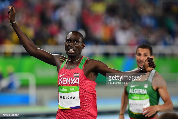 TOPSHOT Kenya's David Lekuta Rudisha celebrates after winning the Men's 800m Final during the athletics competition at the Rio 2016 Olympic Games at...