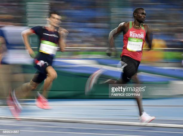 TOPSHOT Kenya's David Lekuta Rudisha competes in the Men's 800m Final during the athletics event at the Rio 2016 Olympic Games at the Olympic Stadium...