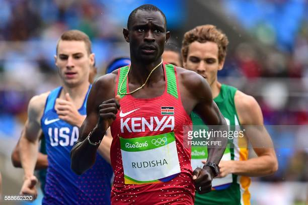 TOPSHOT Kenya's David Lekuta Rudisha leads the field in the Men's 800m Round 1 heat during the athletics event at the Rio 2016 Olympic Games at the...