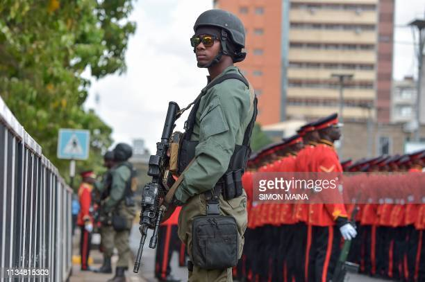 Kenya's Defence Forces prepare for a guard of honour before the arrival of Kenya's President at the Parliament buildings April 4 2019 for the State...