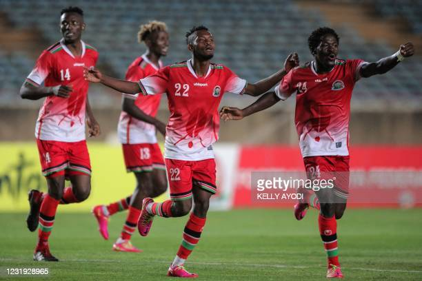 Kenya's defender Abdalla Hassan celebrates with teammates after scoring during Cameroon 2021 Africa Cup of Nations qualification Group G football...