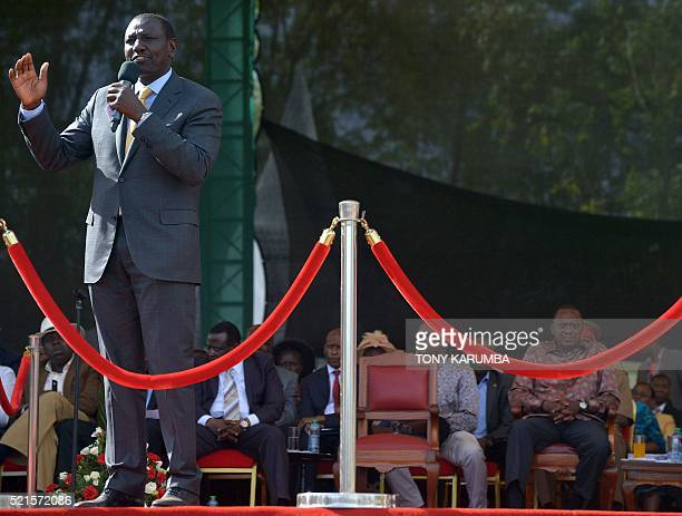 Kenya's Deputy president William Ruto delivers a speech during an interreligious event at the Afraha stadium in Nakuru on April 16 2016 President...