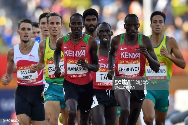 Kenyas Elijah Motonei Manangoi and Kenyas Timothy Cheruiyot competes in the athletics men's 1500m final during the 2018 Gold Coast Commonwealth Games...