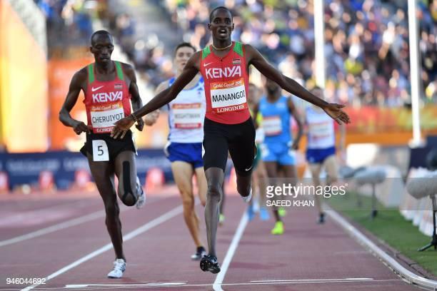 Kenyas Elijah Motonei Manangoi wins the athletics men's 1500m final during the 2018 Gold Coast Commonwealth Games at the Carrara Stadium on the Gold...