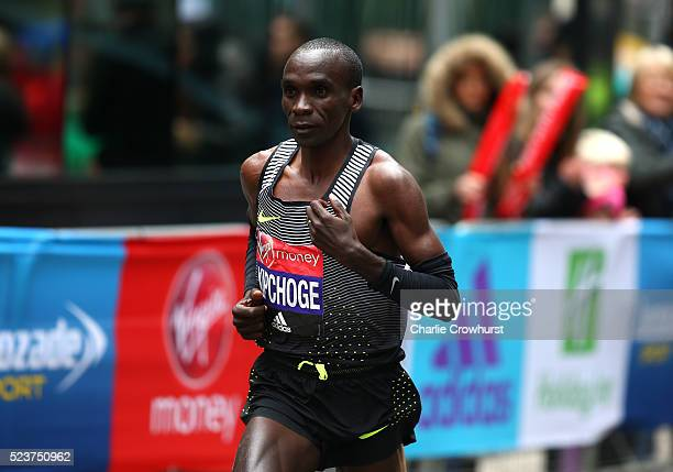 Kenya's Eluid Kipchoge on his way to winning the elite mens race during the 2016 Virgin Money London Marathon on April 24 2016 in London England