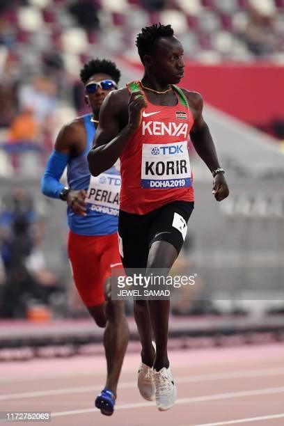 Kenya's Emmanuel Kipkurui Korir competes in the Men's 400m heats at the 2019 IAAF Athletics World Championships at the Khalifa International stadium...