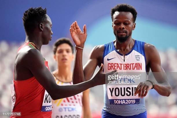 Kenya's Emmanuel Kipkurui Korir greets Britain's Rabah Yousif after the Men's 400m heats at the 2019 IAAF Athletics World Championships at the...
