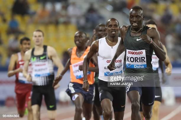 Kenya's Emmanuel Kipkurui Korir leads the men's 800 metres during the Diamond League athletics competition at the Suhaim bin Hamad Stadium in Doha,...