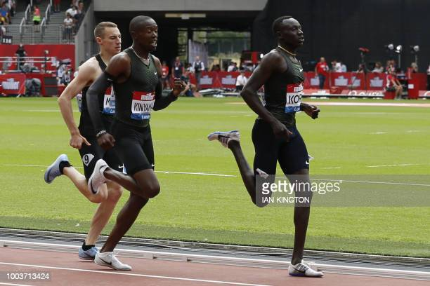 Kenya's Emmanuel Kipkurui Korir races to win the Men's 800m event during the IAAF Diamond League Anniversary Games athletics meetingat the London...