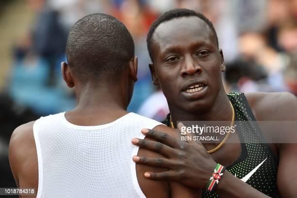 Kenya's Emmanuel Kipkurui Korir reacts after winning the men's 800m during the 2018 IAAF Birmingham Diamond League athletics meeting at Alexander...