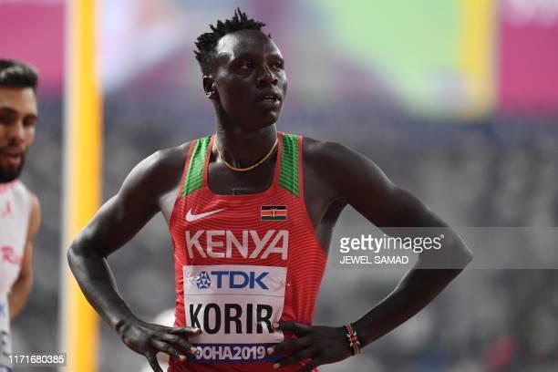 Kenya's Emmanuel Kipkurui Korir waits for the results in the Men's 800m heats at the 2019 IAAF World Athletics Championships at the Khalifa...
