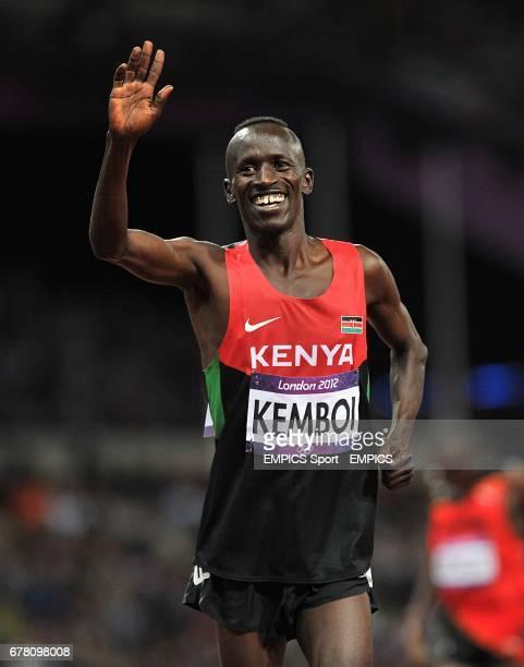 Kenya's Ezekiel Kemboi celebrates winning the Men's 3000m Steeplechase at the Olympic Stadium, London.