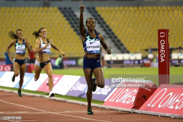 Kenya's Faith Kipyegon celebrates after winning the women's 800m during the IAAF Diamond League competition on September 25, 2020 at the Suheim Bin...