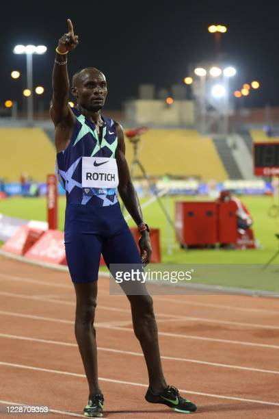 Kenya's Ferguson Cheruiyot Rotich celebrates winning the men's 800m race during the IAAF Diamond League competition on September 25, 2020 at the...