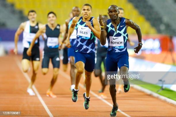 Kenya's Ferguson Cheruiyot Rotich leads the men's 800m race during the IAAF Diamond League competition on September 25, 2020 at the Suheim Bin Hamad...