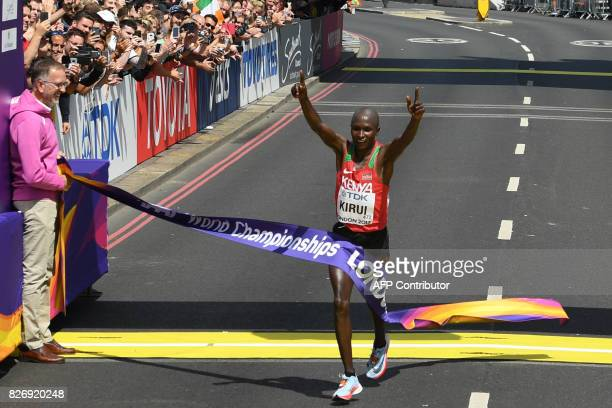 Kenya's Geoffrey Kipkorir Kirui wins the men's marathon athletics event at the 2017 IAAF World Championships in central London on August 6 2017 / AFP...