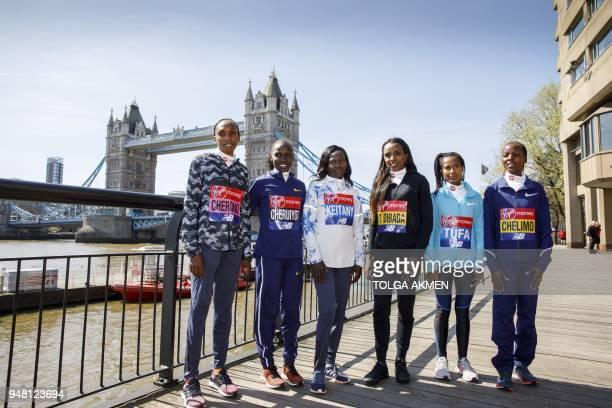 Kenya's Gladys Cherono , Kenya's Vivian Cheruiyot , Kenya's Mary Keitany , Ethiopia's Tirunesh Dibaba, , Ethiopia's Tigist Tufa , Bahrain's Rose...