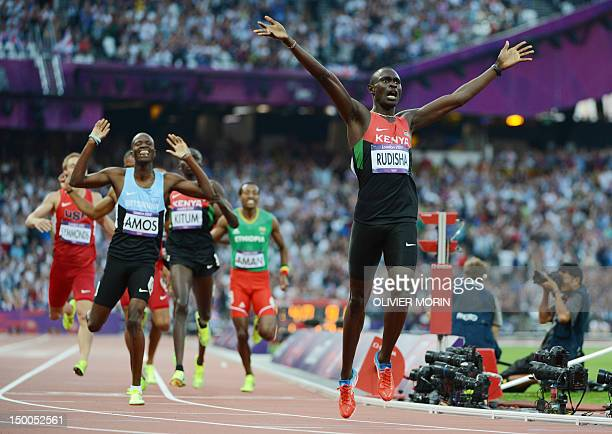 Kenya's gold medalist David Lekuta Rudisha wins the men's 800 final at the athletics event during the London 2012 Olympic Games on August 9, 2012 in...