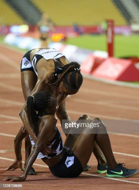 Kenya's Hellen Obiri is congratulated by compatriot Beatrice Chepkoech after the women's 3000m during the IAAF Diamond League competition on...