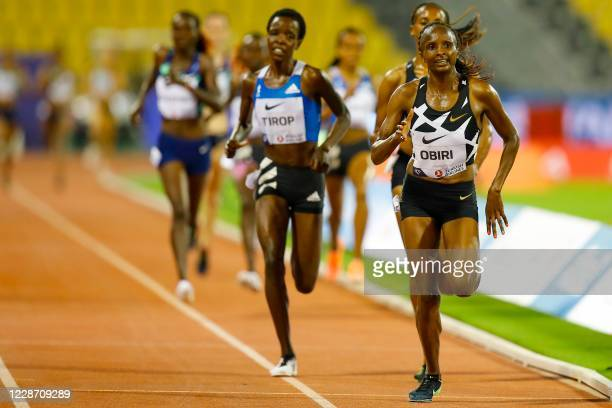 Kenya's Hellen Obiri leads the pack during the Women's 3000m during the IAAF Diamond League competition on September 25, 2020 at the Suheim Bin Hamad...