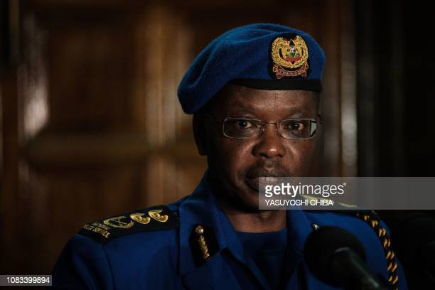 Kenya's Inspector General of Police Joseph Boinnet speaks during a press conference in Nairobi, Kenya, on January 16 a day after a blast followed by...