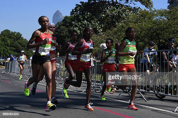 Kenya's Jemima Jelagat Sumgong competes in the Women's Marathon during the athletics event at the Rio 2016 Olympic Games at Sambodromo in Rio de...