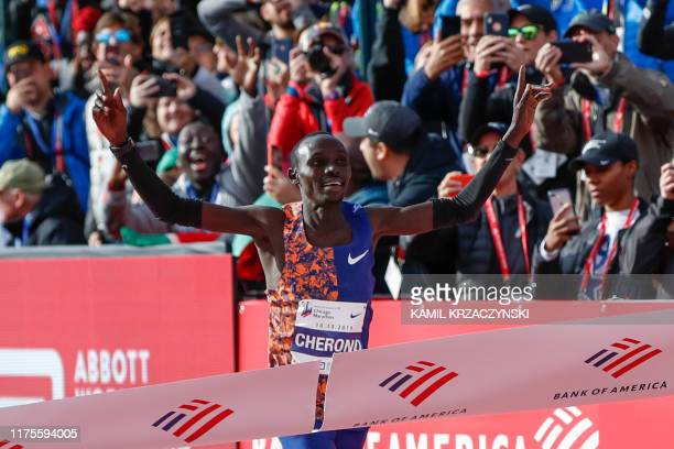 Kenya's Lawrence Cherono wins the men's 2019 Bank of America Chicago Marathon on October 13, 2019 in Chicago, Illinois. - Kenya's Lawrence Cherono...