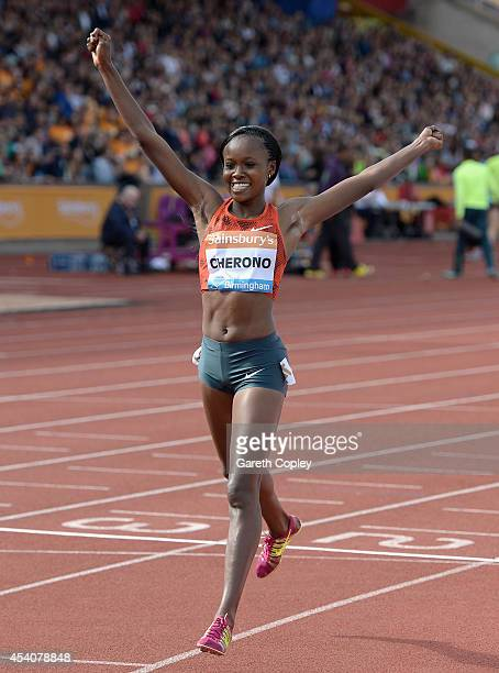 Kenya's Mercy Cherono celebrates winning the Women's 2 miles during the Sainsbury's Birmingham Grand Prix at Alexander Stadium on August 24 2014 in...