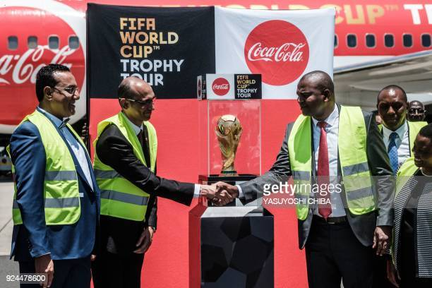 Kenya's minister of sports and heritage Rashid Achesa and minister of tourism Najib Balala attend the arrival ceremony of the FIFA World Cup Trophy...