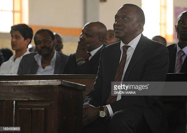 Kenya's newly elected President Uhuru Kenyatta attends a mass on March 102013 at the Martyrs of Uganda Catholic church during a thanksgiving service...