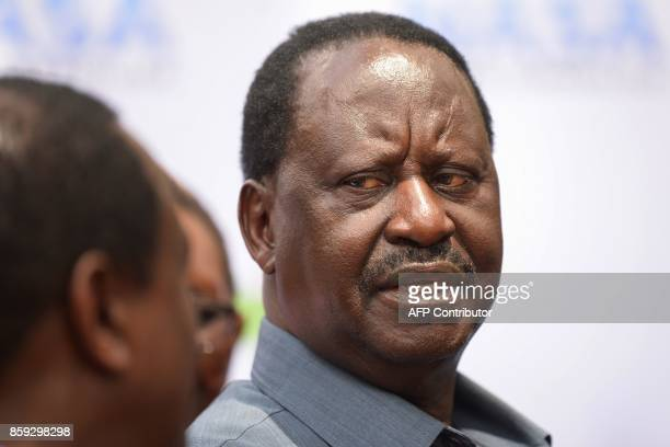 Kenya's opposition leader and presidential candidate of the National Super Alliance coalition Raila Odinga attends a press conference on October 9...